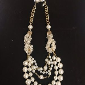 Simulated Pearl Earrings & Necklace Set
